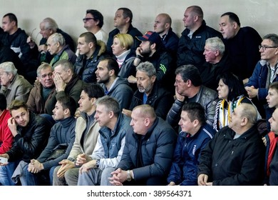 Odessa, Ukraine - January 16, 2016: Club fans and spectators in the stands emotionally support their team during the derby Odessa basketball teams of the Super League. BK  BIPPA and BK CHEMIST