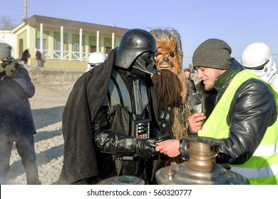 Odessa, Ukraine - January 19, 2017: Fictional characters of Star Wars appeared in real life at feast of Baptism