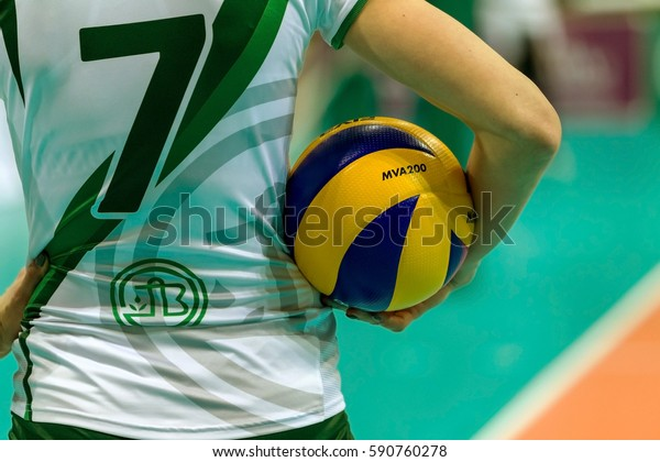 Odessa, Ukraine - January 26, 2017 CEV Volleyball Cup - Women. VC Chemist - Ukraine occupies CSM Primaria Targoviste - Romania. The official ball of the championship in the hands of a young girl