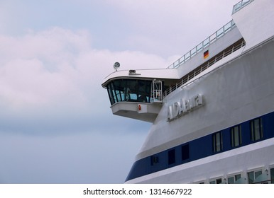 Odessa / Ukraine - July 04 2011: Bridge wing of cruise liner AIDAaura during the call in port of Odessa