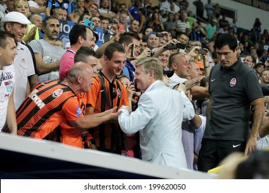 ODESSA, UKRAINE - July 10, 2013: emotional football fans during the game Shakhtar Donetsk and Chernomorets, July 10, 2013, Odessa, Ukraine