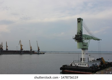 Odessa, Ukraine - July 10, 2018: Primorsky Seaside Boulevard and Odessa Maritime station, Marine Station of Odessa, Black Sea, ships, yachts, schooners, boats, blue sky & sea