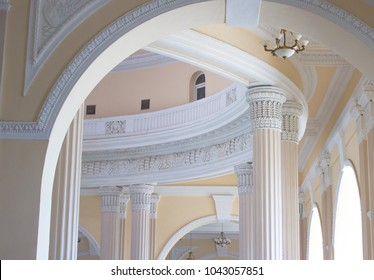 ODESSA, UKRAINE - JULY 14, 2017: Odessa railway station is a monument of architecture in neoclassical style.