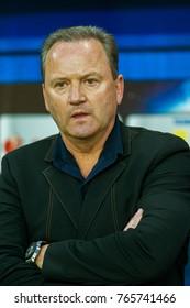 "ODESSA, UKRAINE - July 15, 2017: Igor Belanov, Soviet football player, forward, was recognized as best footballer in Europe in 1986 - Golden Ball,  Golden Foot on ""The Champions Promenade"" 2008"