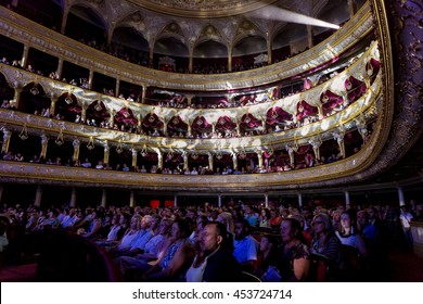 """ODESSA, UKRAINE - July 16, 2016: Ukrainian singer Jamala at solo concert at Opera House. Delighted fans in hall. Jamal won 61st annual Eurovision Song Contest with song """"1944"""" in Stockholm in 2016."""