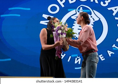 Odessa, Ukraine July 18, 2019: Humorous stand-up show BLACK SKUARE (CHERIY KVADRAT). Humorous stand up show Liga Smeha