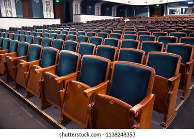 ODESSA, UKRAINE - July 19, 2018: The auditorium of the theater with seats, seats for spectators. Interior of the Drama Theater. Audience room