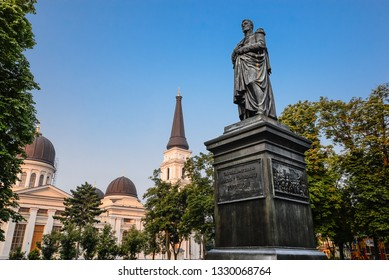 Odessa, Ukraine - July 20, 2016: The Statue of Graf Vorontsov near The Transfiguration Cathedral in Odessa, Ukraine