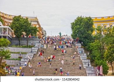Odessa, Ukraine - July 26, 2018: Famous Potemkin stairs in Odessa.
