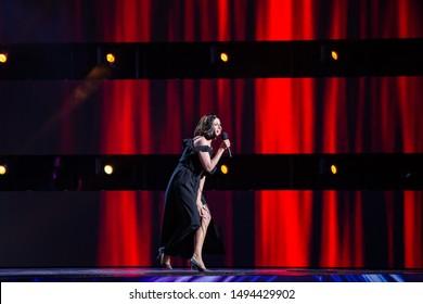 Odessa, Ukraine July 26, 2019: Humorous show of Ukrainian president Vladimir Zelensky Laughter League on stage. Humorous stand up show Liga Smeha