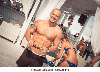Odessa, Ukraine July 4, 2014: Ibiza beach summer club. People rest in summer pool beach club during vocations