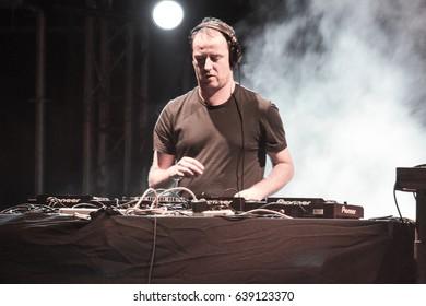 Odessa, Ukraine July 8, 2011: DJ Sasha. Dj at work in luxury nightclub. Dj make party time at elite night club. Soft focus