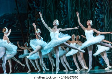 ODESSA, UKRAINE -JULY22, 2019: ballet. Classical ballet on stage of Odessa Opera Theater. Ballet dancers on stage dance classical works of Swan Lake. Form of artistic ball dance on stage of theater
