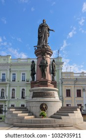 Odessa, Ukraine - Jun 29, 2009: Monument of Catherine II the Great and the founders of Odessa in Odessa, Ukraine. Constructed in 1900. In 1920 it was dismounted by Communists. Restored again in 2007.