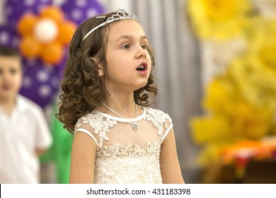 Odessa, Ukraine - June 1, 2016: children's music groups sing and dance at the graduation concert. Children in front of their parents show what they have learned. Emotional children's musical shows