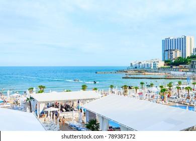 Odessa, Ukraine - June 12, 2017 Odessa beach on resort during a sunny day
