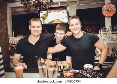 Odessa, Ukraine June 13, 2015: Barman at work. Bartender make fun at party time.