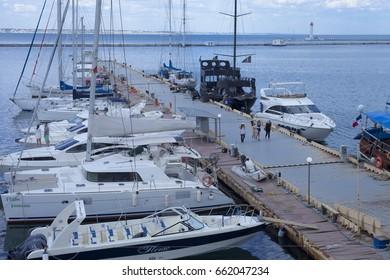 ODESSA, UKRAINE: June 17, 2017 - Yachts in Odessa, Ukraine
