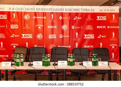 ODESSA, UKRAINE - JUNE 18 2015: Press Conference Victoria Tigipko. 6th Odessa International Film Festival. Hall press conference in anticipation of speakers