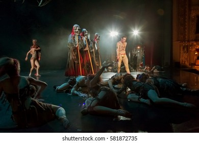 Odessa, Ukraine - June 2, 2013: Abstract blurred, soft-focus picture is illustrative of general rehearsal of ballet on contemporary theater scene. Background with creative artists in motion blur