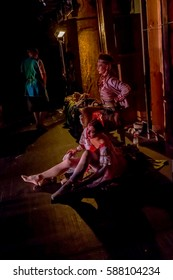 "Odessa, Ukraine - June 2, 2013: Actors, dancers behind scenes of theater during presentation of ""SACRED SPRING"". Dancers and dancers behind scenes of theater waiting in wings. Hidden life of theater"