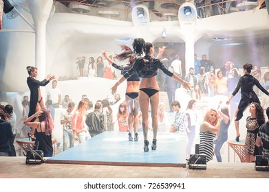Odessa, Ukraine June 20, 2014: Ibiza club Go go dancer. Dance show at night club with lights show. Performance show during night party.