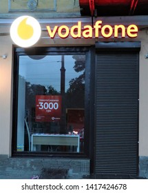 Odessa, Ukraine. June 2019. Signage of a Vodafone store. International company of Sim card and internet services.