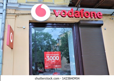 Odessa, Ukraine. June 2019. Signage and window shopper of a Vodafone store. International company of Sim card and internet services.