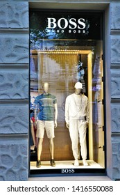 Odessa, Ukraine. June 2019. Window display of a Hugo Boss brand clothing store. German fashion house.