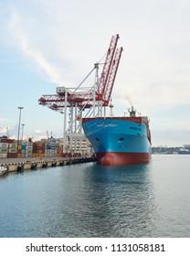 ODESSA, UKRAINE - June 30, 2018: Container ships Maersk Balli in Port of Odessa