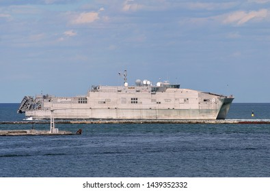 Odessa / Ukraine - June 30 2019: US Navy Spearhead-class expeditionary fast transport ship USNS Yuma (T-EPF-8) in port of Odessa