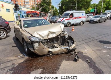 ODESSA, UKRAINE - June 7, 2018: car crash accident on the street, damaged automobiles after collision in city. Automobile accident at crossroads of city road. Car crash accident on street