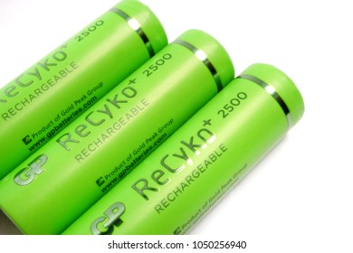 ODESSA, UKRAINE - MARCH 13, 2018: Three GP ReCyko+ 2500 series rechargeable AA batteries closeup. Gold Peak Group (Hong Kong)  GP Batteries product.