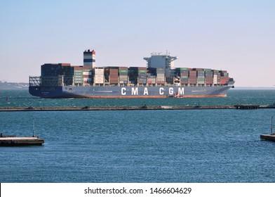 "Odessa / Ukraine - March 23 2019: Bosphormax type сontainer ship ""CMA CGM VOLGA"" IMO 9705081 leaves port of Odessa for Bosphorus"
