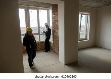 ODESSA, UKRAINE - MARCH 27, 2017: Construction site of modern high-rise building. Building landscape, interior of construction of high-rise apartment house.
