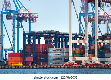Odessa, Ukraine - March 8, 2016:  Container terminal in Odessa Sea Port, the largest Ukrainian seaport and a major freight and passenger transportation hub of Ukraine.