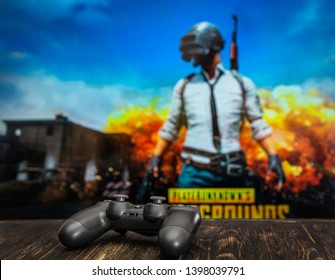 Odessa Ukraine May   Black Playstation  Gamepad On The Background