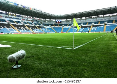 ODESSA, UKRAINE - May 13, 2017: Football League Pari-Match CHERNOMORETS - Odesa takes SHAHTER-Donetsk.  football field of Olympic Stadium. The empty stadium is prepared in anticipation of a tense game