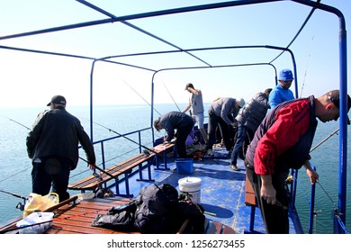 Odessa, Ukraine - may 15, 2016:  Sea fisherman on the blue fishing ship catch bullhead goby fish. Beautiful seafront in the background. Black sea