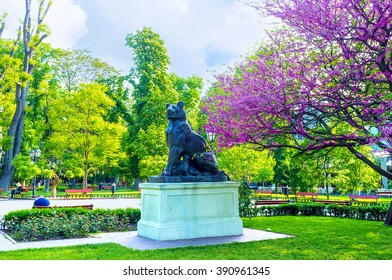 ODESSA, UKRAINE - MAY 18, 2015: The bronze lioness and the lionet are the only predators in the City Garden, on May 18 in Odessa.