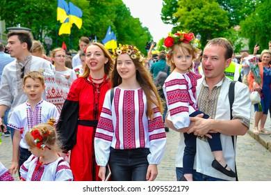 ODESSA, UKRAINE - MAY 19: Ukrainians in national costumes at Vyshivankovy Festival on MAY 19,2018 in Odessa, Ukraine