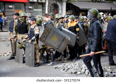 ODESSA, UKRAINE - May 2, 2014 : The tragic riots in downtown committed radical Ukrainian nationalists that caused massive loss of life  May 2, 2014 in Odessa , Ukraine.
