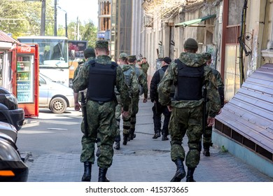 ODESSA, UKRAINE - May 2, 2016: Police  control the streets of the city from possible provocations gangsters and fascists on Memorial Day Tragedy Odessa Khatyn.