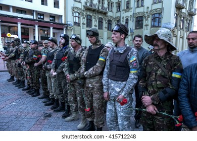 ODESSA, UKRAINE - May 2, 2016: Neo-Nazi organizations hold a memorial meeting of all confessions. Nazi flags, symbols and theatrical shows in the style of Nazi Germany. The coup d'etat in Ukraine