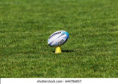 ODESSA, UKRAINE - May 21, 2017: Rugby European Champions Cup POLITECHNIK - Odessa and SPORTING - Moldova. Rugby ball on field. Conceptually - official rugby ball on playing field