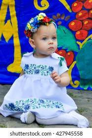 ODESSA, UKRAINE - MAY 21: Ukrainians in national costumes at Vyshivankovy Festival on MAY 21,2016 in Odessa, Ukraine