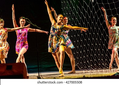 Odessa, Ukraine - May 25, 2016: Children's musical groups singing and dancing on stage. Children's performance. Emotional children's show on stage. Children's Ballet. Dancing on stage.