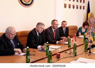 Odessa, Ukraine - May 26, 2011: Ambassador Extraordinary and Plenipotentiary of Austria to Ukraine Wolf Dietrich Heim, an official visit to  Regional Administration, May 26, 2011 in Odessa, Ukraine.
