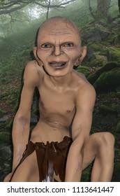 ODESSA, UKRAINE - May 26, 2018:   the wax figure of Gollum (Smeagol)  at the wax museum Babu Yti.