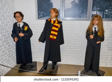 ODESSA, UKRAINE - May 26, 2018:   the wax figure of Harry Potter, Ron Weasley and Hermione Granger  at the wax museum Babu Yti.